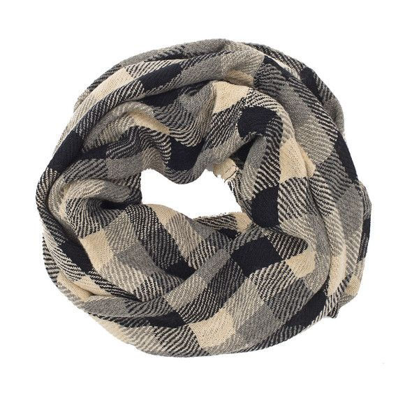 Type super awesome things here about walk in love. and then click share! Black Grey & Cream Plaid Infinity Scarf #walkinlove #iwearwalkinlove