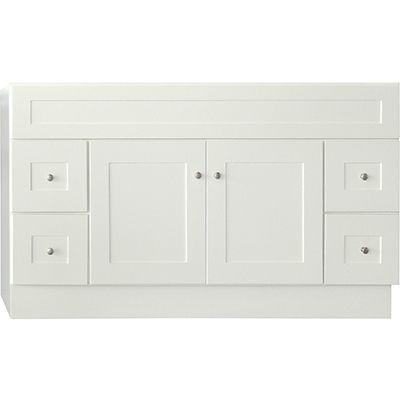 linen white shaker style 2 door 4 drawer 60x21 vanity base bargain outlet