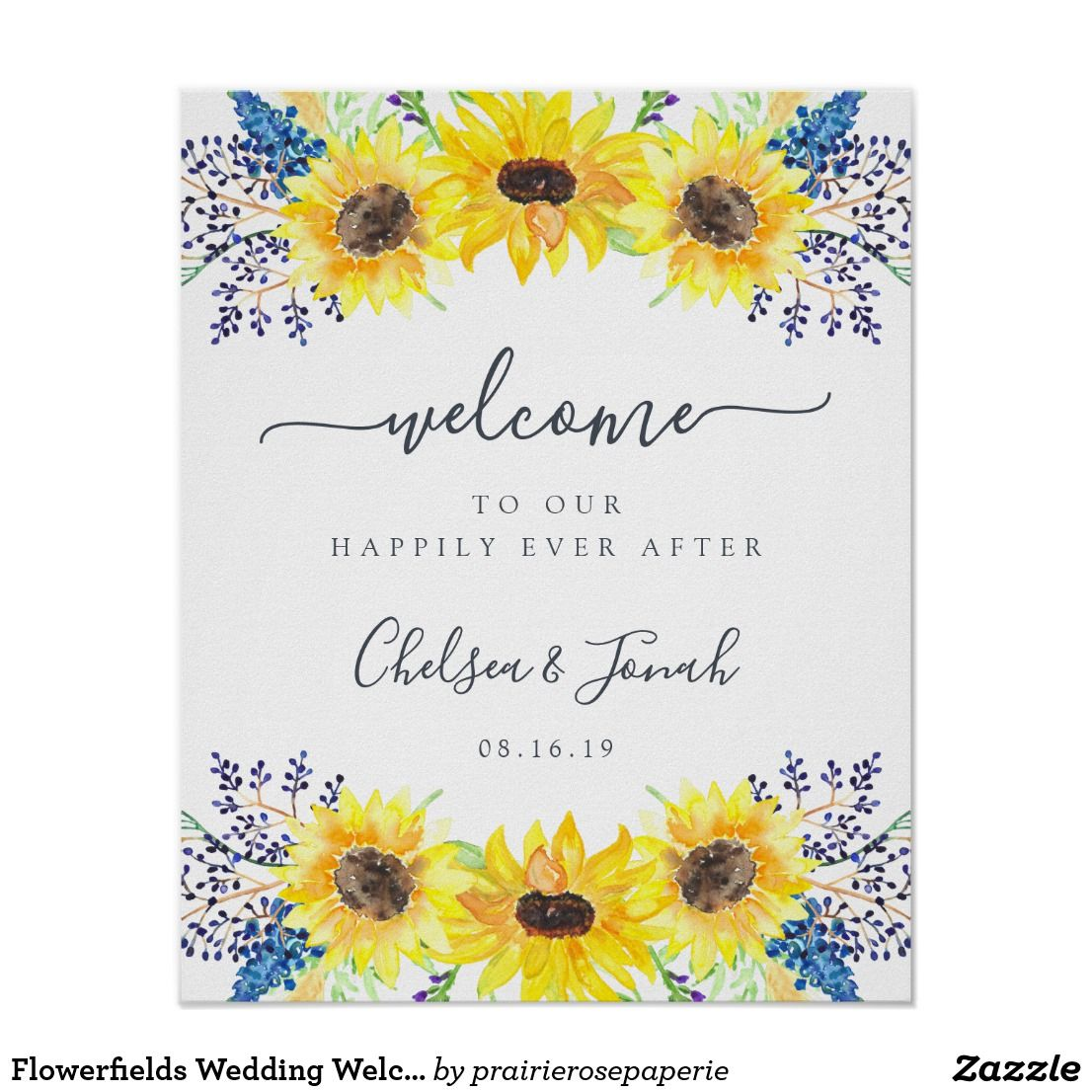 Sunflower Welcome To Our Wedding Ceremony Poster