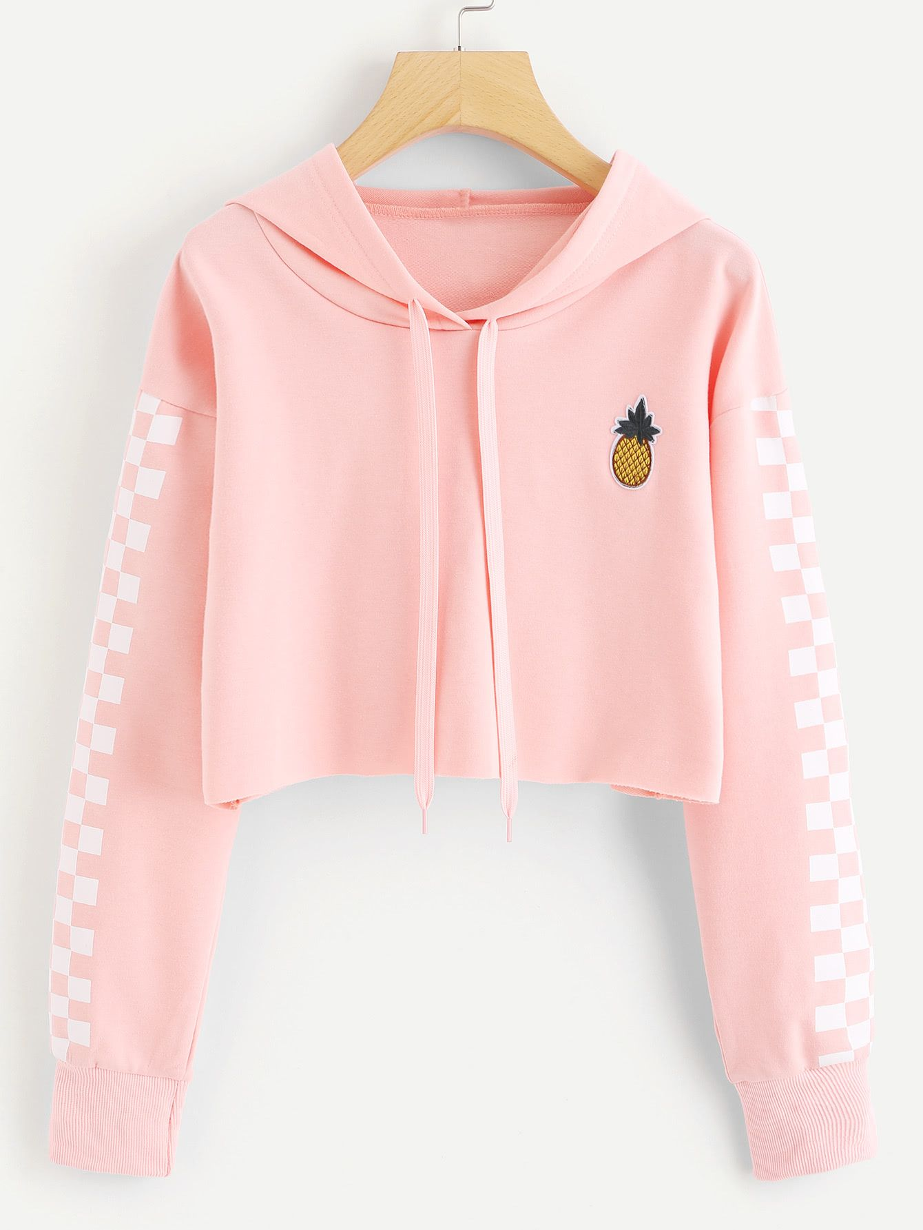9b7a93e336f29 Pineapple Embroidered Gingham Crop HoodieFor Women-romwe