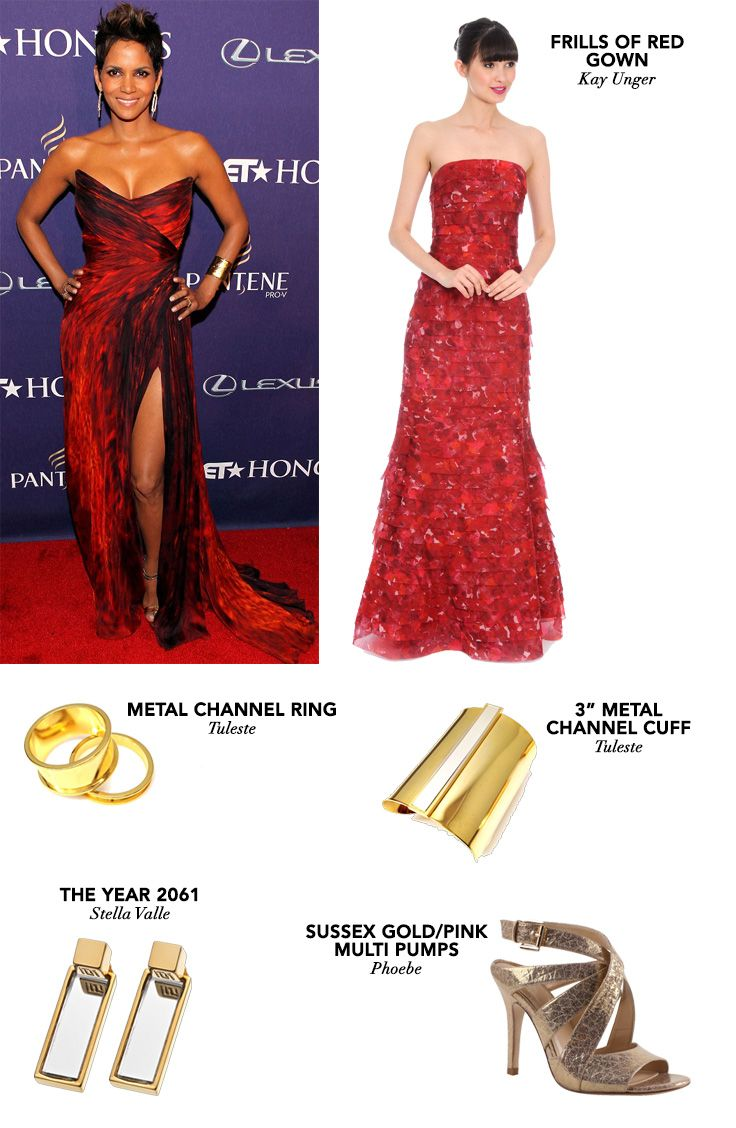Get this firey gown from Kay Unger reminiscent of Halle Berry's at the 2013 BET Honors. #zindigo #getthelook #halleberry