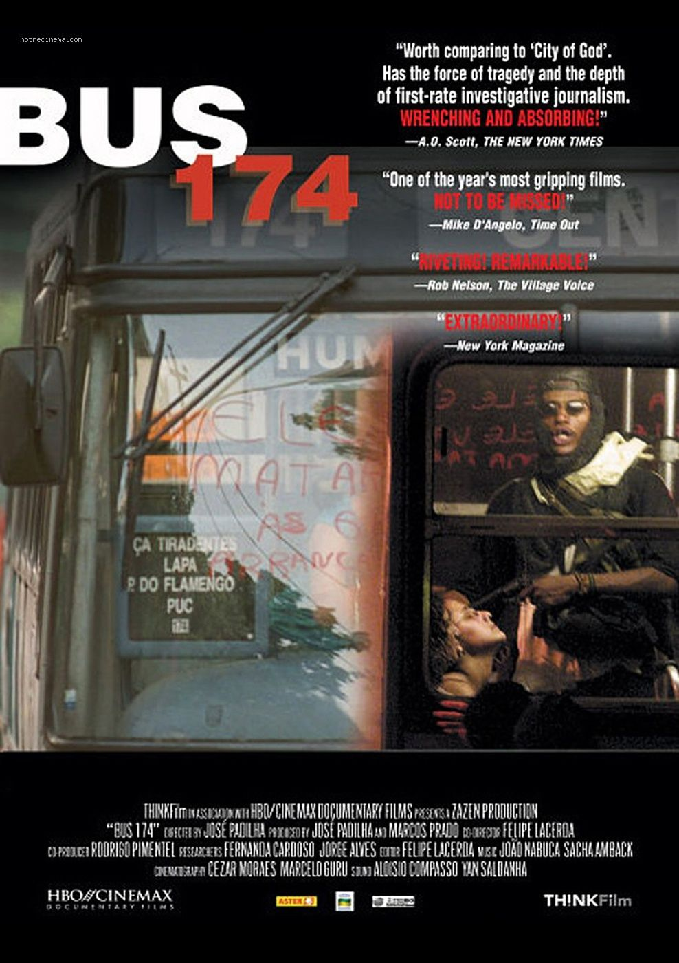 """Ônibus 174 [Bus 174] - José Padilha, Felipe Lacerda 2002 -- """"An award-winning examination of the tragic series of events that followed a desperate bus hijacking in Rio de Janeiro (2000) that turned deadly when a SWAT team took evasive action against the drug-addled hijacker. The tragic event was broadcast live on Brazilian tv."""" Image: notrecinema.com"""