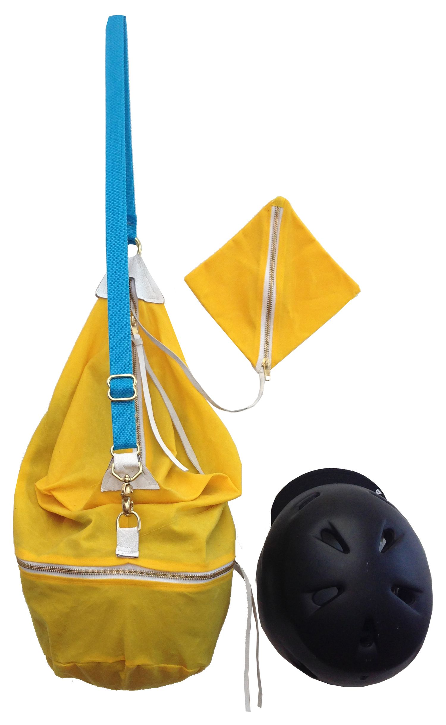 The Bedford Bag (slicker yellow / electric blue) — waxed canvas bicycle helmet tote by Henry Liz