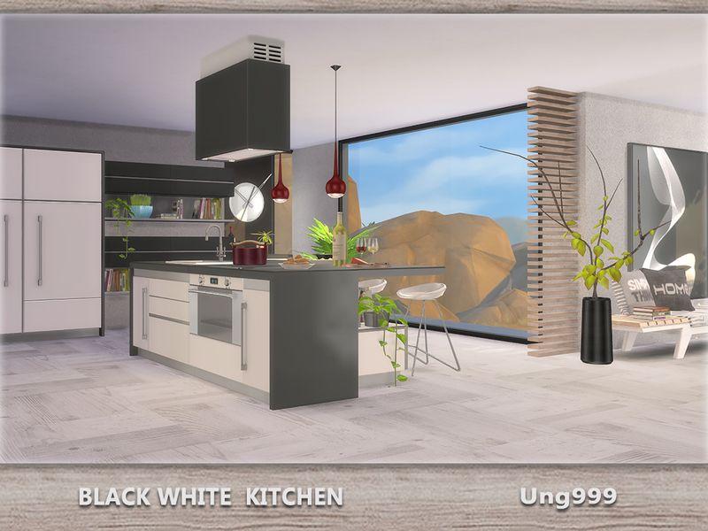 Lana CC Finds Black White Kitchen