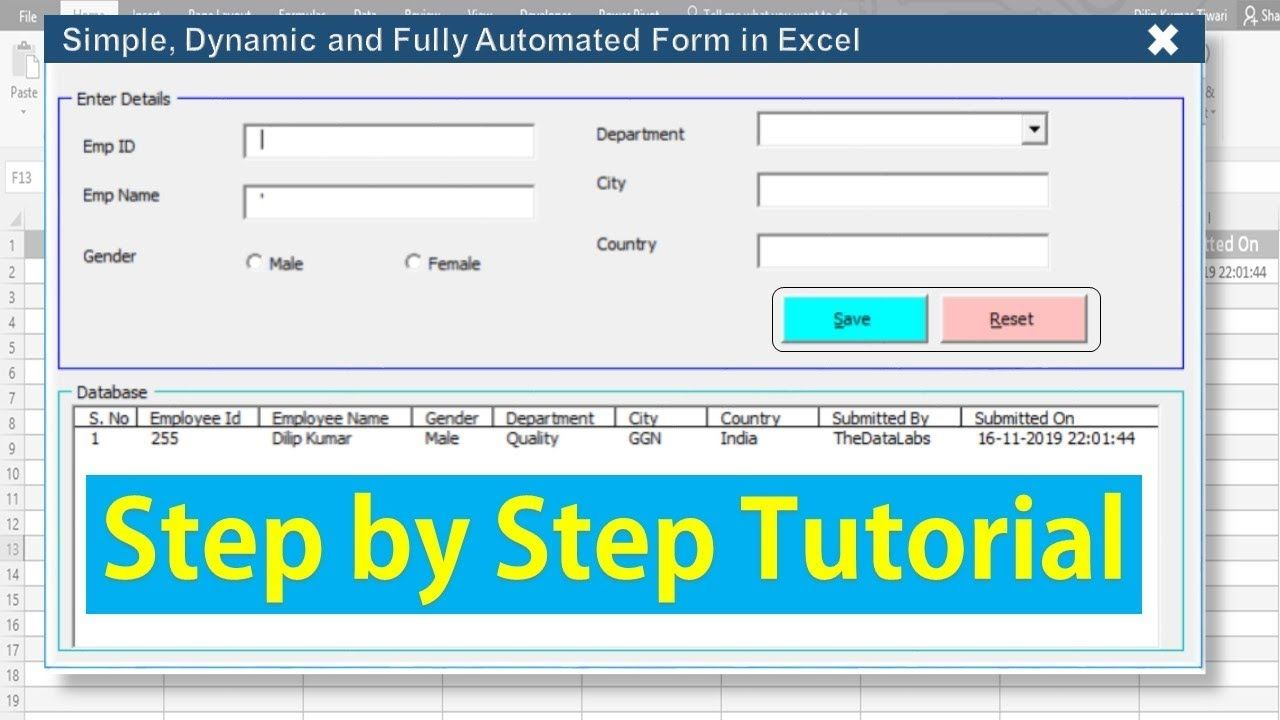 Fully Automated Data Entry User Form In Excel Step By Step Tutorial Youtube Excel Tutorials Excel Data Entry