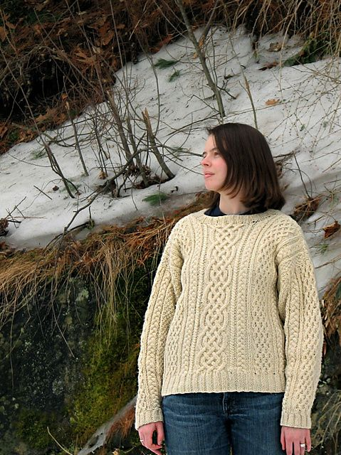 Uh oh...think I've got the Aran bug again:  Knitted Aran Sweater #1101 pattern by Lion Brand Yarn