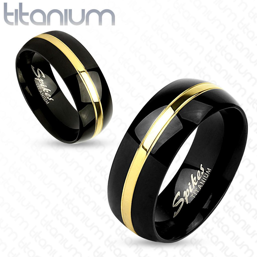 Featuring Two Tone Band Gold Line Center Black Ion Plated Anium Grade 23 Men S Ring Wedding Width 8mm 0 31 Is