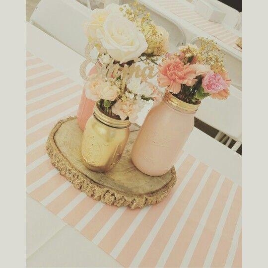 Baby shower centerpieces mason jars diy gold glitter