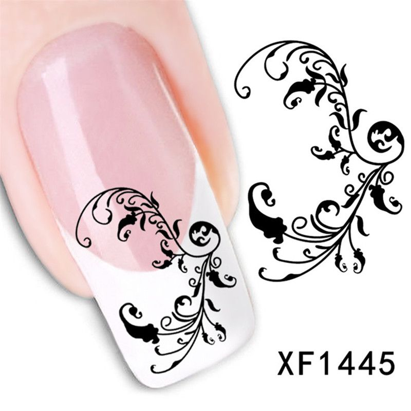 Beauty diy watermark cute black flower 3d design water transfer nail art sticker fashion french nail