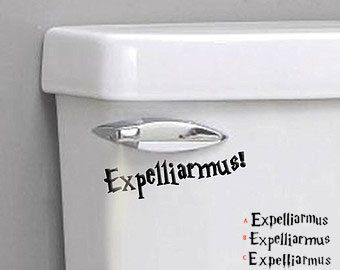 The Disarming Charm, also known as the Expelliarmus Spell or Disarming Spell (Expelliarmus) was a defensive charm which forced the victim to release whatever they were holding at the time. This is made in black gloss and measures 5 wide. If you will not be putting this on a toilet and want a removable matte vinyl instead please add that to the notes section. PLEASE PICK FONT A B or C, if nothing is selected one will be chosen at random. Come like us on Facebook! :)…