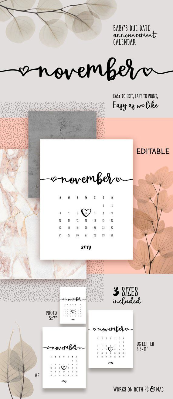 be2af95f5a61b NOVEMBER 2019 Printable Pregnancy Calendar Lovely Baby Due Date  Announcement Calendar PDF Reveal Bab
