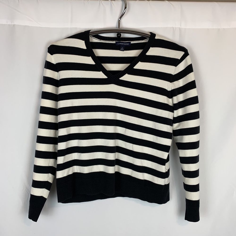 Lands End Womens V Neck Sweater White Navy Blue Stripe Size Medium Fashion Clothing Shoes Accessories Womensclothin Sweaters Vneck Sweater White Sweaters [ 1000 x 1000 Pixel ]