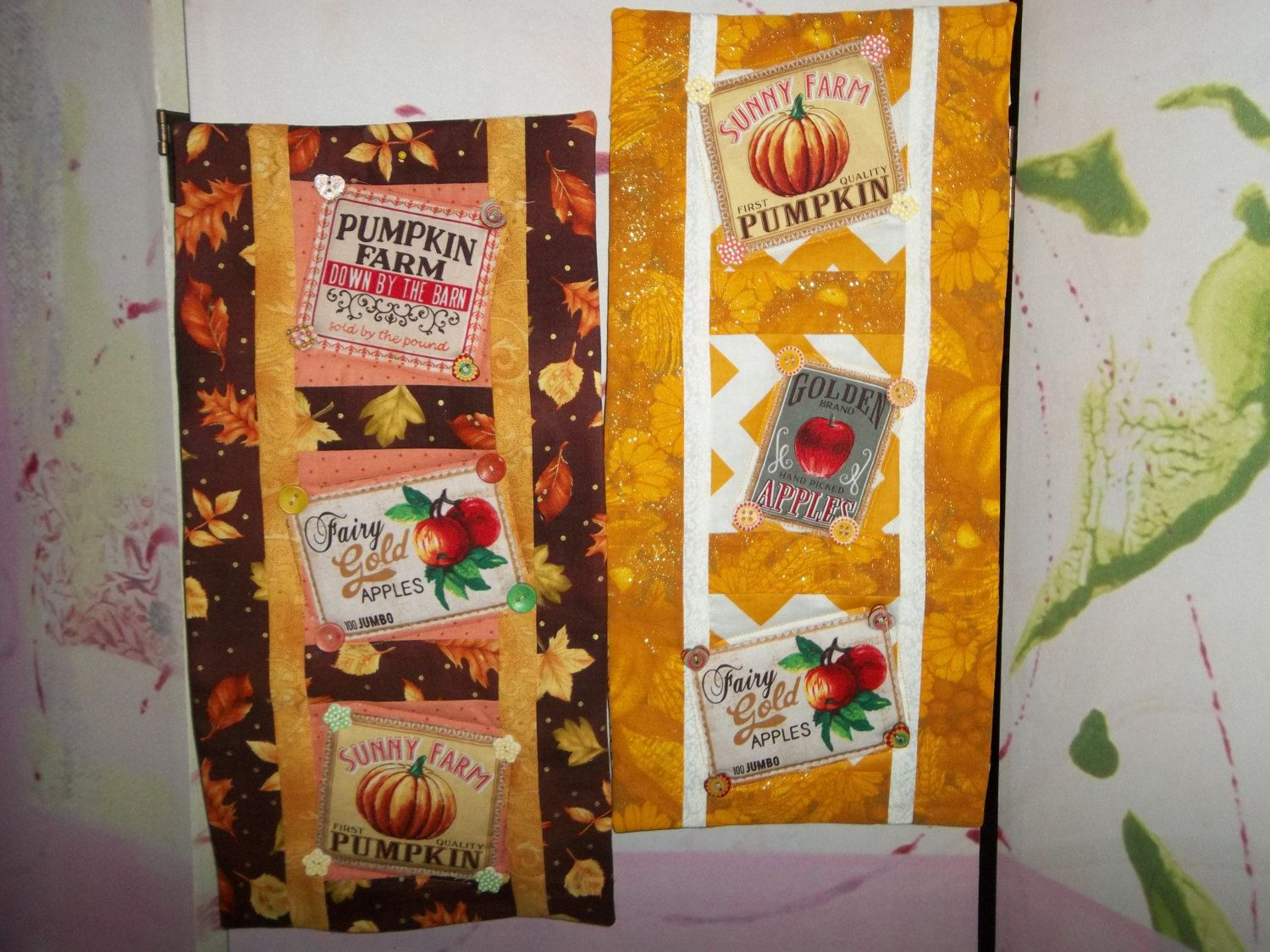 Quilt Wallhanging or Door Banner with Pumpkins and Apples, Gold Border or Brown Border, Buttons by TriciasQuilts on Etsy
