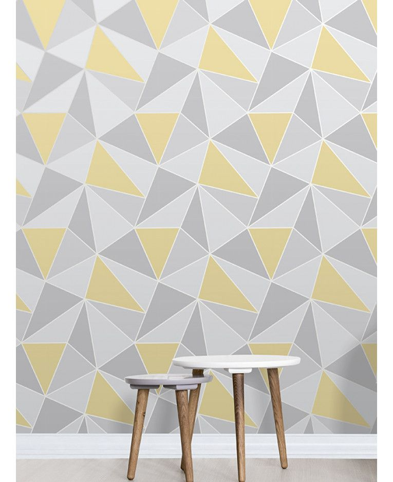 This Apex Geometric Wallpaper In Tones Of Yellow And Grey Features A Contemporary Geometric Patt Geometric Wallpaper Home Wallpaper Grey And Yellow Living Room