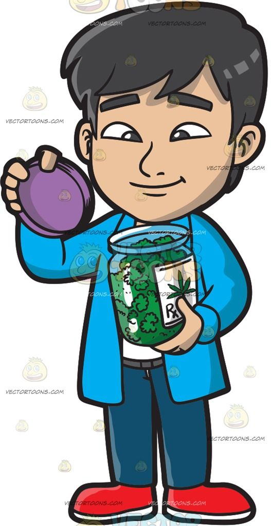 A Man Opening The Jar Of His Medical Marijuana :  A man with black hair wearing white shirt blue jacket gray belt and teal pants red shoes smiles while opening a jar full of marijuana leaves in his left hand as his right hand holds the purple lid  The post A Man Opening The Jar Of His Medical Marijuana appeared first on VectorToons.com.