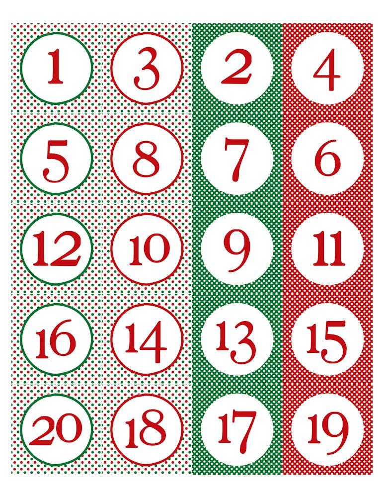 Free Printable Christmas Calendar Numbers | Advent Calendar ...