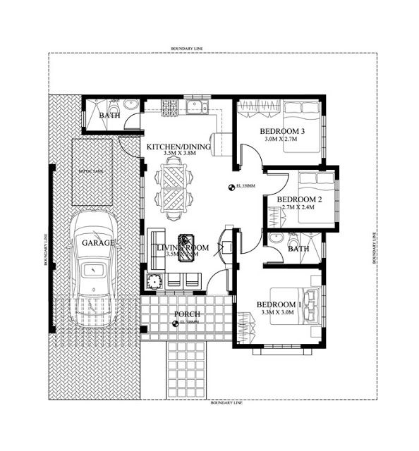 Marvelous Bungalow House Designs Series, Is A Floor Plan With A Total Floor Area Of  90 Sq. House Designs In The Philippines Are Compact And Yet Are  Well Organized To ...