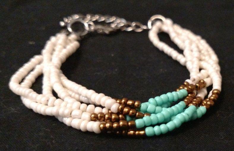 Tribal Braided Beaded Bracelet, Boho, Handmade Jewelry, cij, summer 2015, women by TJSoldtonew on Etsy