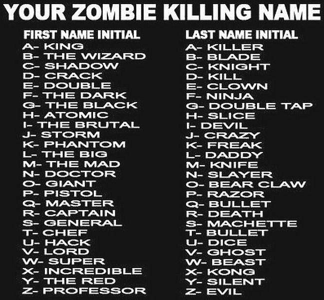 Zombie Killing Name | Zombies | Funny pictures, Funny names
