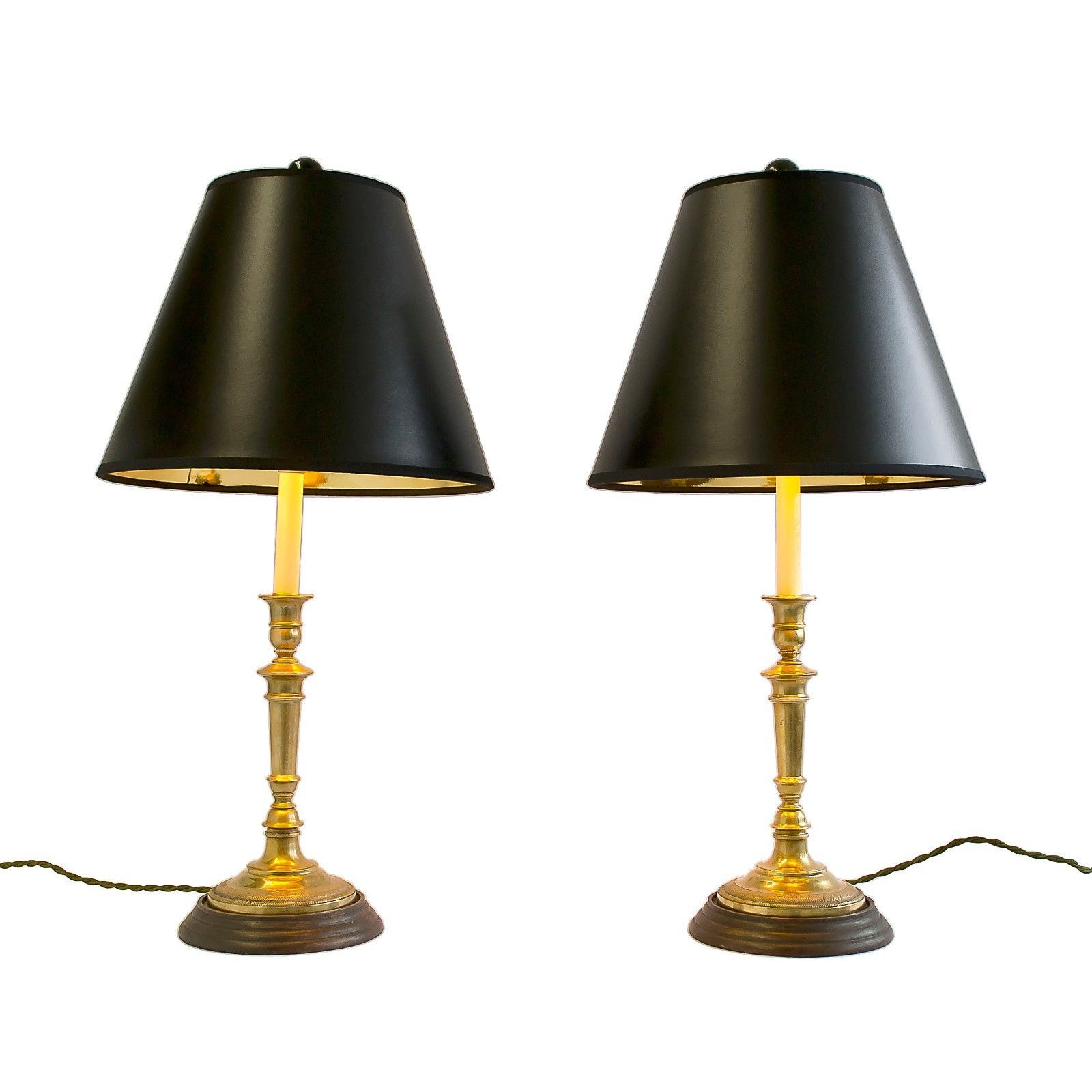 of and lamp candlestick gold pair lamps twisted green cord black w lampshades brass pin