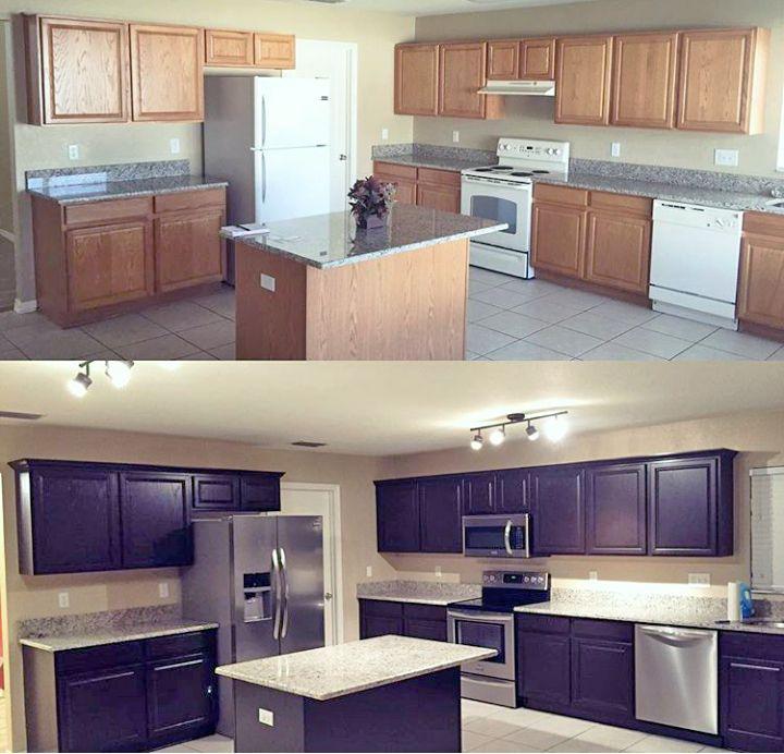 Kitchen Cabinet Restaining: Java Kitchen Transformation
