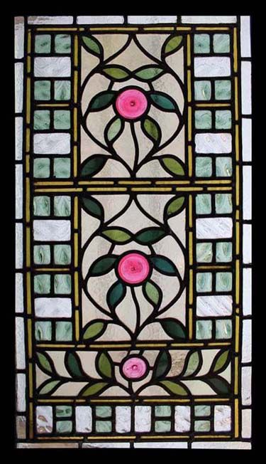 mini idea  Art Nouveau Meandering Leaves stained glass window