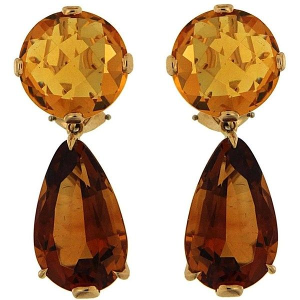 Preowned Citrine Gold Round And Drop Earrings ($9,100) ❤ liked on Polyvore featuring jewelry, earrings, multiple, clip back earrings, clip on drop earrings, pre owned jewelry, drop earrings y gold drop earrings