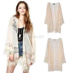 Hippie Boho Chiffon Lace Crochet Long Floral Kimono Cardigan