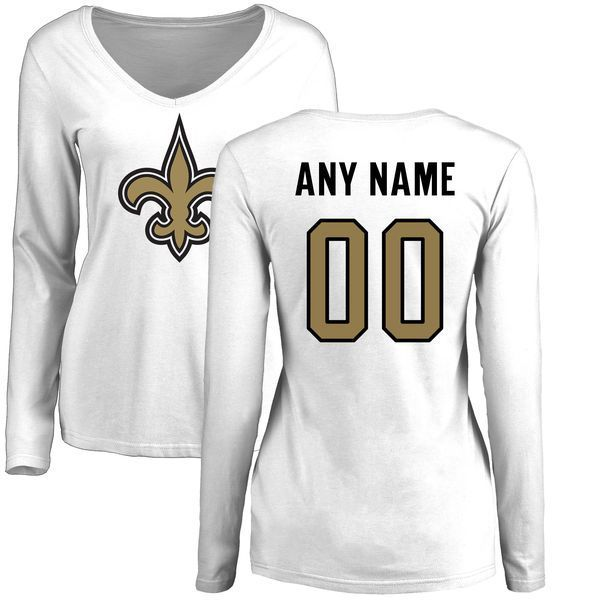 ... top quality women new orleans saints nfl pro line white custom name and number  logo slim ... f7d10f8ca