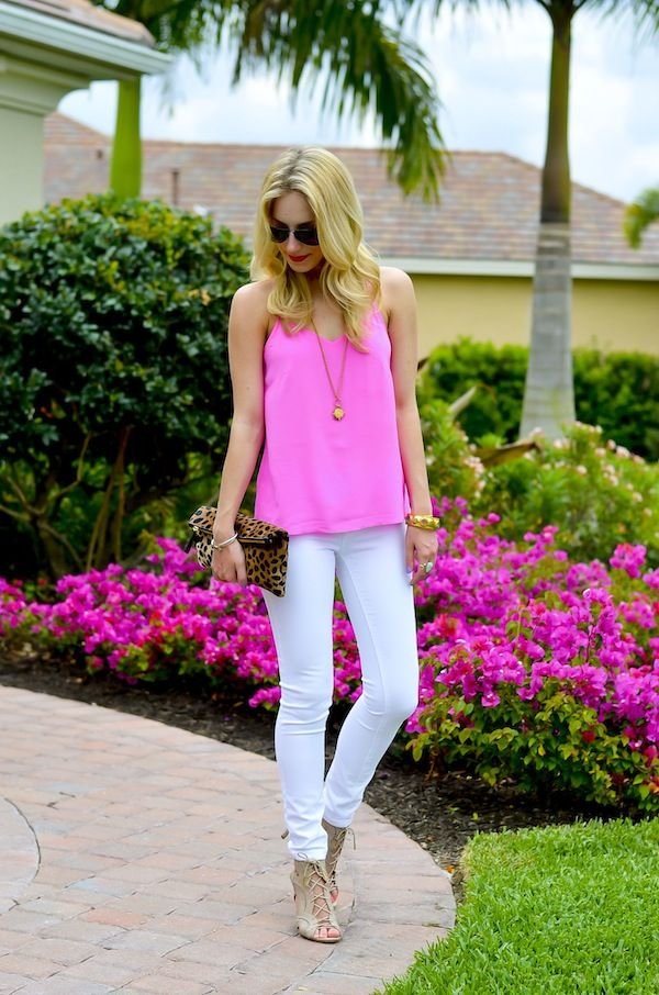Pink Cami + White Jeans + Nude lace up sandals