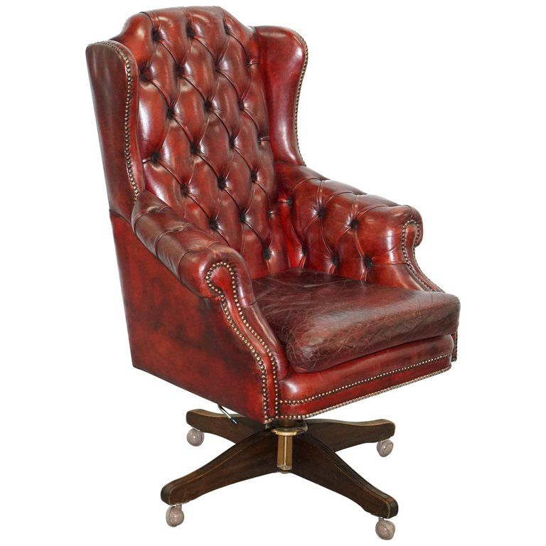 Hand Dyed 1960s Chesterfield Oxblood Leather Directors