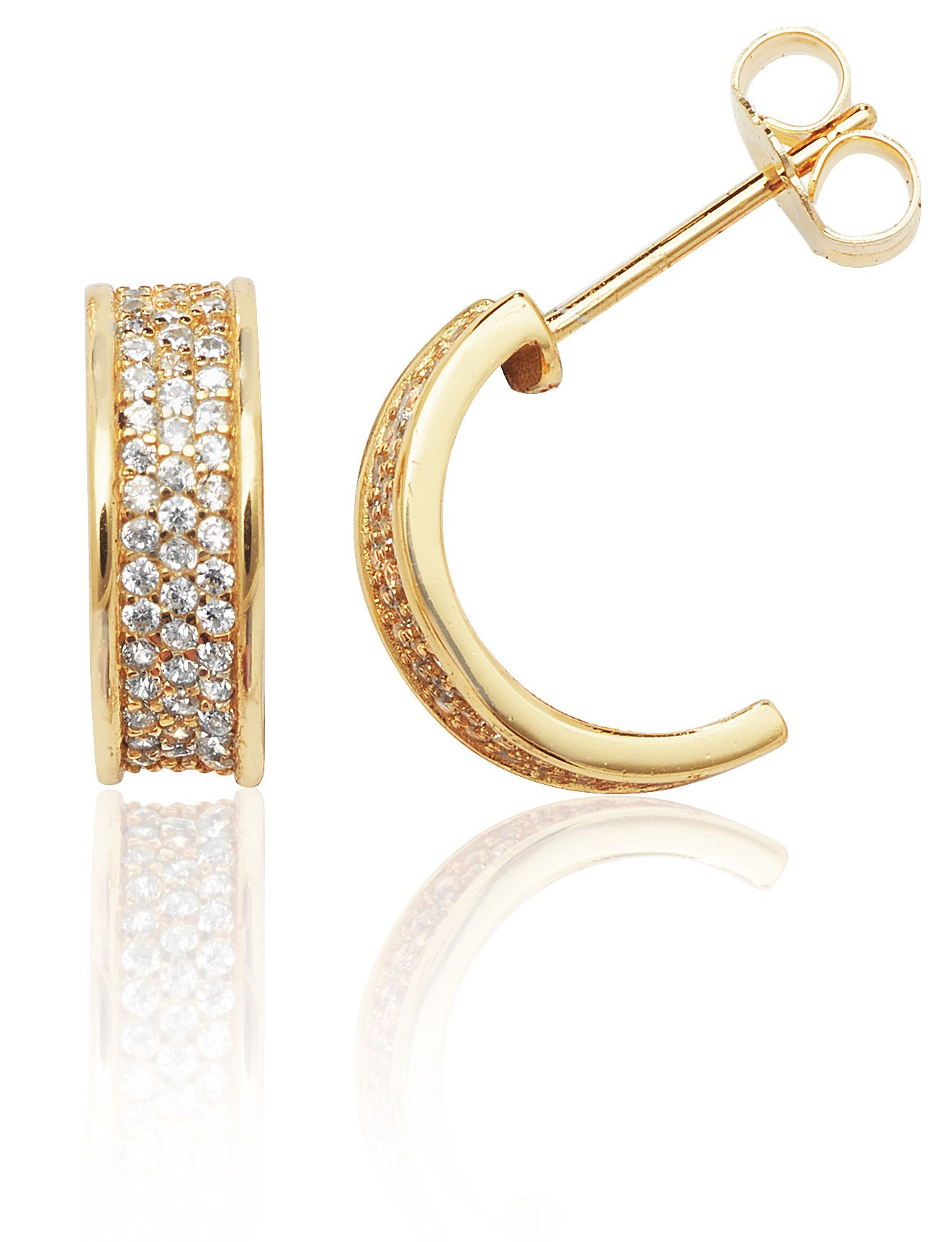 27d8fbcde Statement sterling silver with yellow gold plating half hoop stud earrings,  set with brilliant cut cubic zirconia stones, to create the WOW factor.