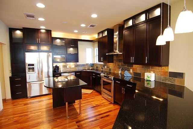 Tigerwood Floor With Black Cabinets. I Think It Would Look Awesome With  Gray Cabinets