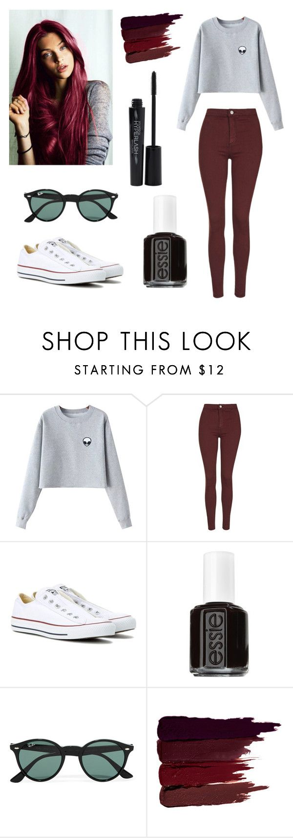 """""""Untitled #217"""" by thebeauty98 ❤ liked on Polyvore featuring Chicnova Fashion, Topshop, Converse, Essie, Ray-Ban, Serge Lutens and Smashbox"""