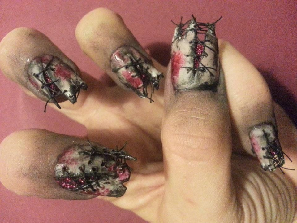 Stitched Zombie Nails - Halloween! - Stitched Zombie Nails - Halloween! Interesting Make-up