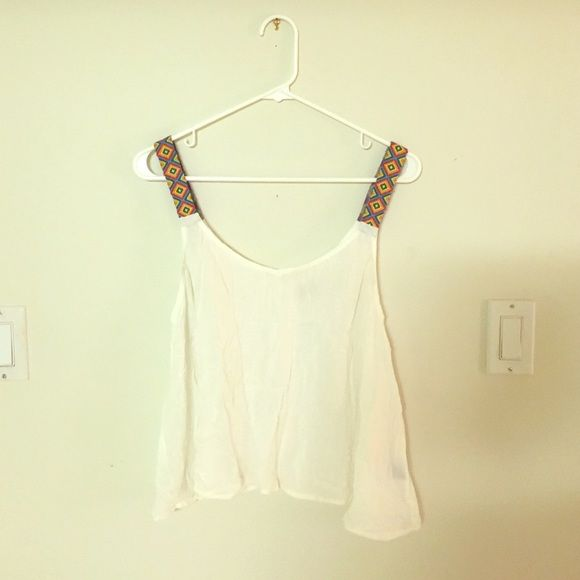 White tank top with tribal print straps Cute white tank with colorful embroidered straps Tops Tank Tops