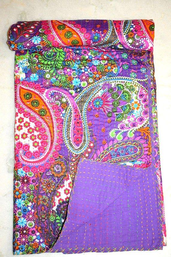 Indian Handmade Paisley Print Kantha Quilt Kantha Blanket Bed Cover King Kantha bedspread Bohemian Bedding Kantha Quilt Twin/ Queen Size #indianbeddoll