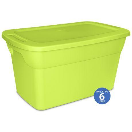 Sterilite 114l Tote Box Green 6 Pk Green Sterilite Plastic Box Storage Storage Boxes