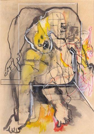 Uri Lifshitz - mixed media on paper Size: 27.6 x 19.7 in.