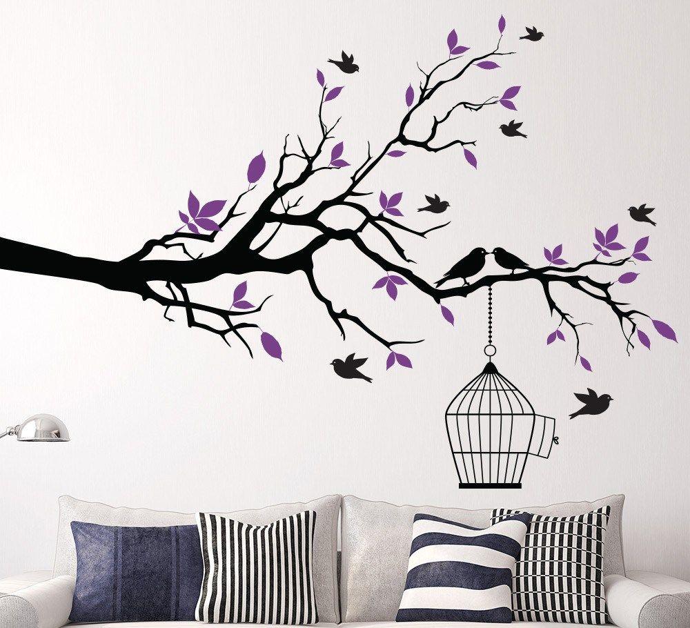branch bird cage wall art sticker vinyl wall decals wall stickers ...