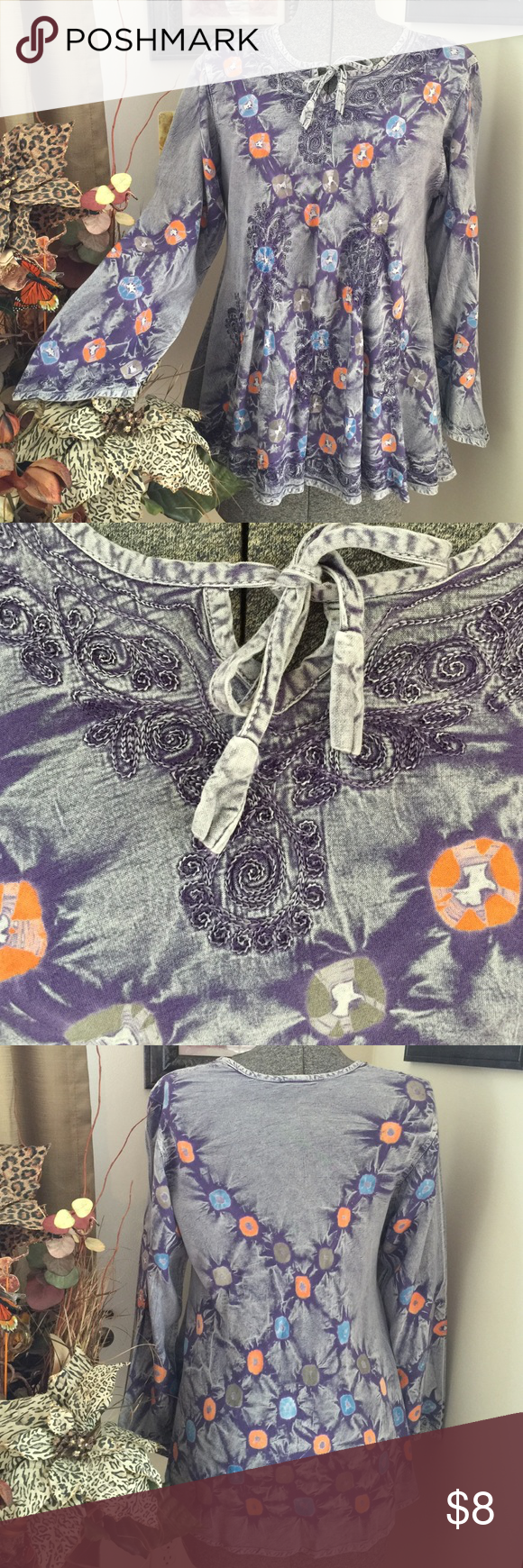 """Beautiful Tie Dye Top W/ Embroidery This top is a beauty but needs just a little TLC & is well worth it (see picture 4).  Made in India.  100% Rayon.  Free size.  Pit to pit 20.5. & pit to bottom 16"""".  The 2nd picture in the 4th one is on the inside (hem).  No holes, tears or stains. Magic Tops"""