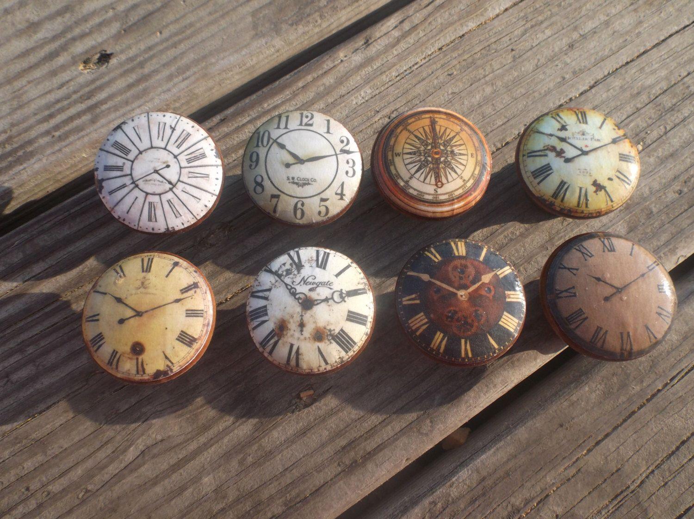 "Antique Clockface Print 1.5"" Dresser Drawer Knob by TwistedRDesign on Etsy https://www.etsy.com/listing/229445990/antique-clockface-print-15-dresser"