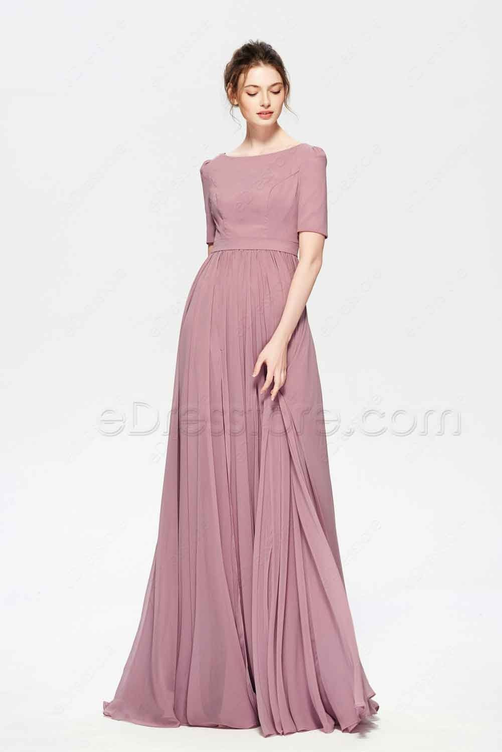 ead08942553 Dusty Rose Color Modest Bridesmaid Dress Elbow Sleeves