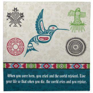 Símbolos y sabiduría - colibrí del nativo servilletas imprimidas