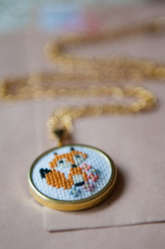 Super-cute cross stitch jewellery by Kittenhood. Check out all her ideas at http://kittenhood.wordpress.com.