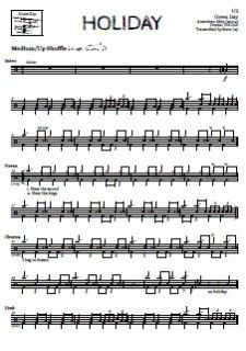 Holiday Green Day Drum Sheet Music With Images Drum Sheet