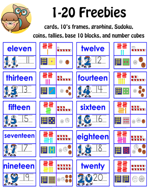 1 10 And 11 20 Math Activity Free Pdfs K 1 Classroom