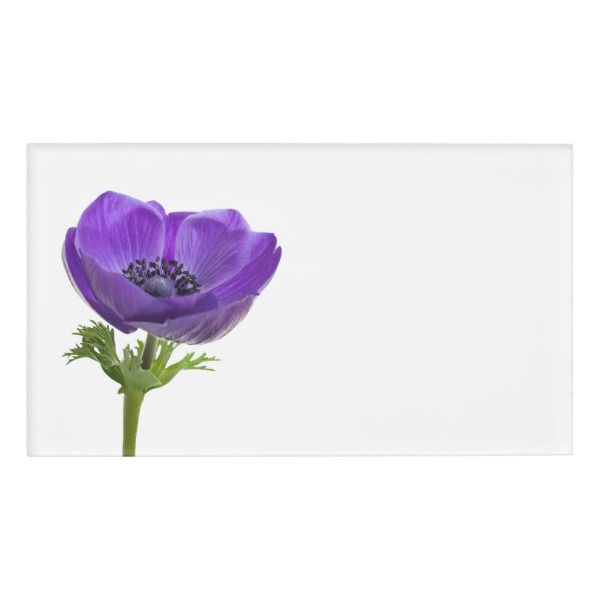 Purple Anemone Flower Name Tag Custom Nametags Teacher Tutor Business Nametags Officesupplies Flower Names Anemone Flower Flower Business