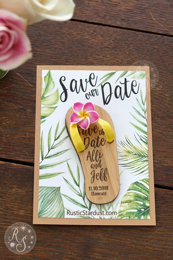 Flipflop Boxed Tropical SavetheDate Beach