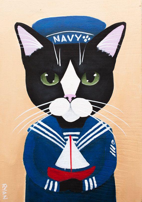 The Little Sailor 2  Original CAT Folk Art by KilkennycatArt